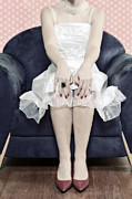 Wedding Garment Posters - Woman On Chair Poster by Joana Kruse