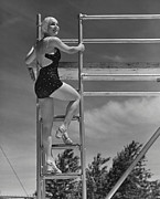 One Piece Swimsuit Prints - Woman On Diving Board Print by George Marks