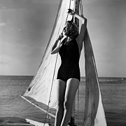 One Piece Swimsuit Prints - Woman On Sailing Boat Print by George Marks