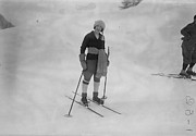 Mid Adult Framed Prints - Woman On Skis Framed Print by L Blandford