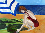 Woman In Cape Prints - Woman on the Beach Print by Betty Pieper