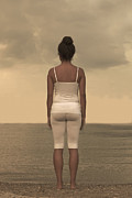 Shirt Posters - Woman On The Beach Poster by Joana Kruse