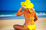 Enjoyment Photos - Woman on the beach by MotHaiBaPhoto Prints