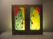 Women Glass Art - Woman on the mirror by Jeff Sie