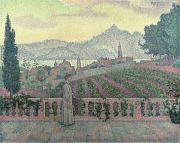 Vines Painting Posters - Woman on the Terrace Poster by Paul Signac