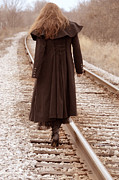 Escape Photo Posters - Woman on Tracks Poster by Jill Battaglia