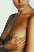 Womanly Posters - Woman Palpates Breast During Self-examination Poster by Mauro Fermariello