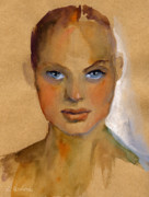 Giclee Drawings - Woman portrait sketch by Svetlana Novikova