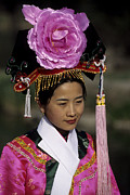 Chinese People Prints - Woman Poses In Traditional Clothes Print by Raymond Gehman