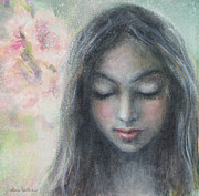 Realistic Mixed Media Prints - Woman praying meditation painting print Print by Svetlana Novikova