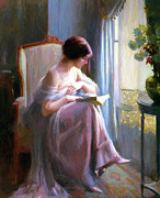 Young Girl Reading Paintings - Woman reading a book by Stefan Kuhn