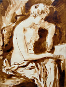 Inviting Drawings - Woman Reading A Letter by Aljo Beran