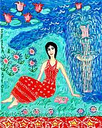 Lilies Ceramics Prints - Woman Reading beside Fountain Print by Sushila Burgess