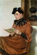 Mirror Reflection Prints - Woman Reading Print by Felix Edouard Vallotton