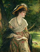 Bench Paintings - Woman Reading by Robert James Gordon
