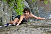 Athletes Posters - Woman Rock Climbing Poster by Skip Brown