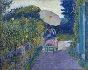 Umbrella Paintings - Woman Seated in a Garden by Frederick Carl Frieske