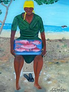 Tray Paintings - Woman Selling Red Snapper by Nicole Jean-louis