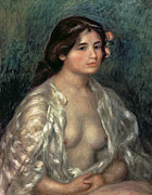 Silk Framed Prints - Woman Semi Nude Framed Print by Pierre Auguste Renoir