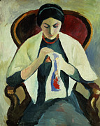 Mending Metal Prints - Woman Sewing Metal Print by August Macke