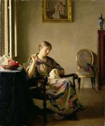 Interiors Posters - Woman Sewing Poster by William McGregor Paxton