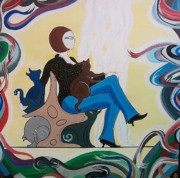 John Lyes Originals - Woman Sitting in Chair with Cats by John Lyes
