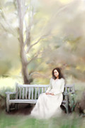 Vintage Clothing Prints - Woman Sitting on Park Bench Print by Stephanie Frey
