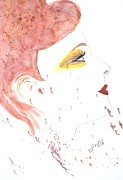 Smile Painting Prints - Woman Smile watercolor painting Print by Georgeta  Blanaru