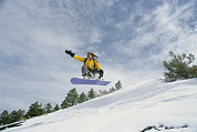 Snow Scenes Prints - Woman Snowboarding On The Cinder Cone Print by Kate Thompson