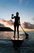 Surf Silhouette Posters - Woman stand up paddling Poster by Monica & Michael Sweet - Printscapes