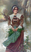 Period Clothing Posters - Woman Standing In Snow, Holding Holly Poster by Everett