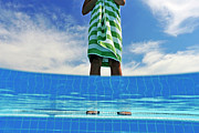 Wrapped In A Towel Posters - Woman standing on swimming pool ledge Poster by Sami Sarkis