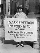 Protests Prints - Woman Suffrage Picket Protests Criminal Print by Everett