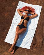 Beach Towel Posters - Woman Sunbathing Poster by Oleksiy Maksymenko