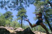Pine Trees Photos - Woman Trail Running In Mountains by Kate Thompson