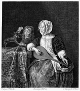 Woman Tuning A Lute Print by Granger