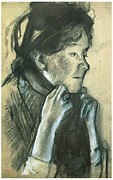 Edgar Drawings - Woman Tying the Ribbons of Her Hat by Edgar Degas