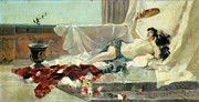 Lounging Painting Posters - Woman Undressed Poster by Joaquin Sorolla y Bastida