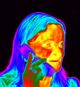 Phoning Prints - Woman Using A Mobile Phone, Thermogram Print by Dr. Arthur Tucker