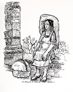 Tortillas Drawings - Woman Vendor by Bill Joseph  Markowski
