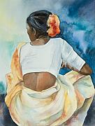 Indian Woman Prints - Woman Waiting Print by Kate Bedell