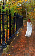 Bride Posters - Woman Walking in Long White Gown Poster by Jill Battaglia