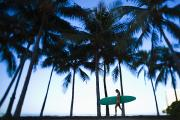 Surf Silhouette Prints - Woman walking with surfboard Print by Dana Edmunds - Printscapes