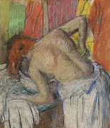 Figure Drawing Pastels Prints - Woman washing her back Print by Edgar Degas