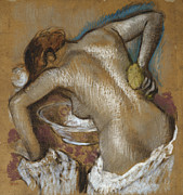 Erotic Pastels Posters - Woman Washing Her Back with a Sponge Poster by Edgar Degas