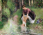 Signed Metal Prints - Woman Washing Her Feet in a Brook Metal Print by Camille Pissarro