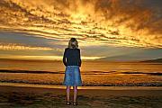 Woman Watching A Beautiful Sunset On Maui Hawaii Print by Pierre Leclerc Photography