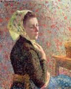 Shawl Paintings - Woman wearing a green headscarf by Camille Pissarro