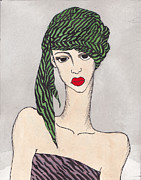 Illustration Tapestries - Textiles Prints - Woman Wearing a Turban Print by Dorrie Ratzlaff