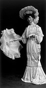 Picture Hat Posters - Woman Wearing An 1890s Dress Poster by Everett
